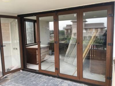 Upvc Sliding Folding Window (Wooden Finish)